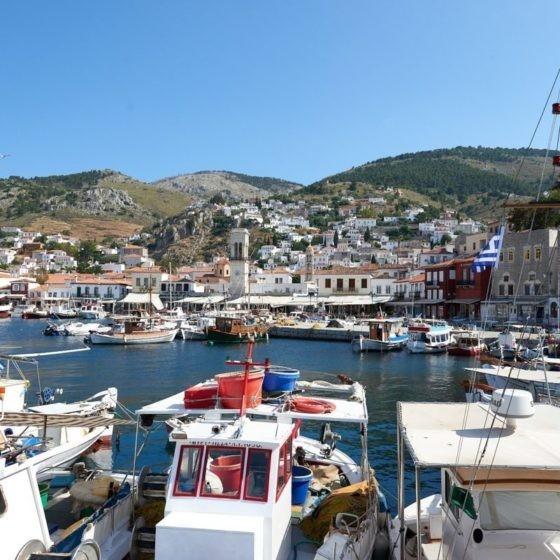 Blick in den Hafen von Hydra